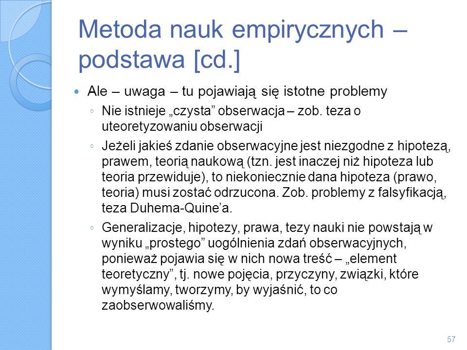 Metoda nauk empirycznych – podstawa [cd.]